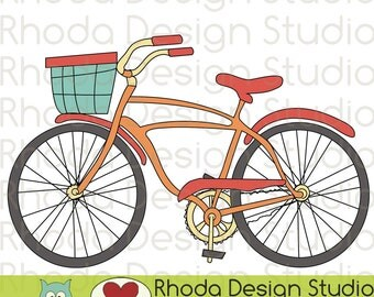 Retro Bikes With Basket Digital Clip Art Vintage Bicycles