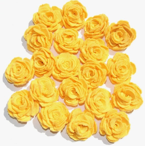 Yellow Fabric Flowers Roses Appliques Set of 20 Upcycled Embellishments Handmade Fabric Flowers for Head Bands Scrapbooking