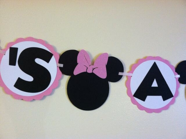 Minnie mouse baby shower banner its a girl banner baby for Baby minnie decoration ideas