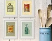 Vintage Retro Country Kitchen Decor Art print: Spice, Tomato Soup, Olive Oil, Fruit Scale, Cofffee Tea