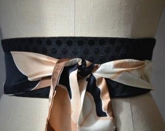 Obi belt sash black tan silk vintage print reversible brocade linen waist cincher