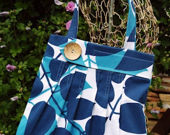Navy and Teal Cotton Canvas Leaf Tote Purse - Max
