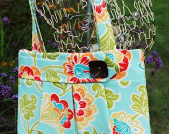 Turquoise Floral Pleated Purse - Durable Cotton Canvas - Hanna