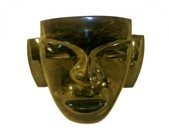 Modern BLACK OBSIDIAN Face SCULPTURE - Free Shipping