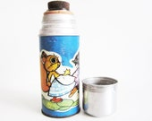 VINTAGE WHIMSICAL ANIMALS thermos, use for home decor, kitchen decor, collect.