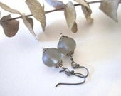 "Glass Bead Earrings - Frosted ""Sea Glass"" Rondelles in Gray"
