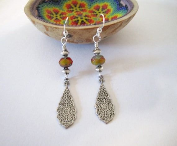 Victorian Drop Earrings - Silver