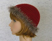 Womens Beanie crochet Hat with Faux Fur Trim Great Chemo Hat