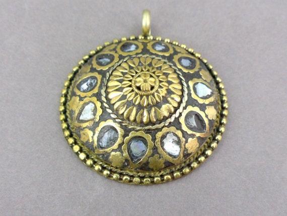 Mosaic Tibetan Mother of Pearl Pendant Medallion Large Handmade (S22B21-04)
