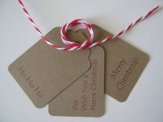 "Christmas Gift Tags Kraft Brown with Red - Set of 100 - 1-3/4"" x 1-1/4"""