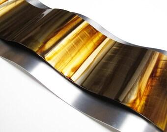 "Metal Art Wall Sculpture ""Rythmic Curves"" by Brian M Jones Modern Paintings & Decor Gold"