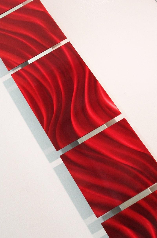 Red metal wall art aluminum sculpture metal panels artwork for Red metal wall art