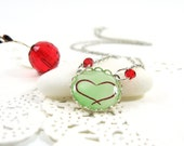 Red Heart on Green- Necklace(012) - FREE WORLDWIDE SHIPPING