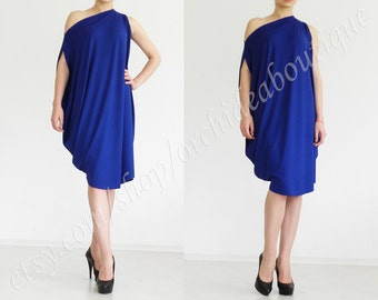Convertible oversized balloon tunic cocktail bat boatneck dress one shoulder blue belt fashion plus size dress up bridesmaids maternity