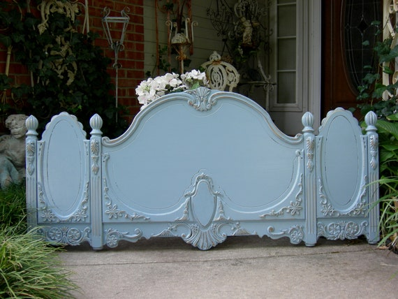 Shabby Chic Queen Or Full Headboard Antique French Blue