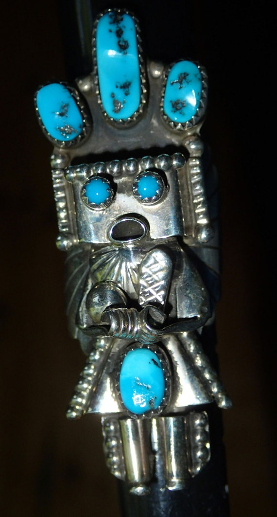 Native American Turquoise Kachina Sterling Silver Ring