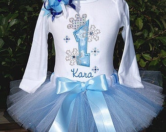 Frozen Birthday - Snowflake Princess - Birthday outfit - BLUE or Pink- Tutu outfit - Free name embroidered- see special listing