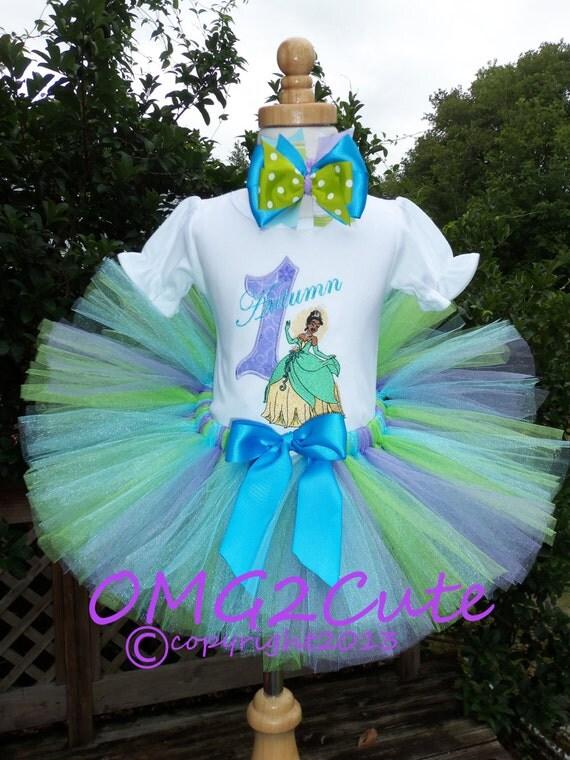 Princesa Tiana Tutu disfraz-incluye camisa arco del por OMG2Cute