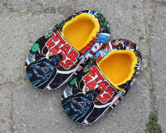 Childrens Non skid Slippers made with Star Wars Fabric, Star Wars Slippers
