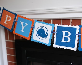 Whale Happy Birthday Banner, Whale Birthday, Whale Decorations, Nautical Birthday, Whale 1st Birthday