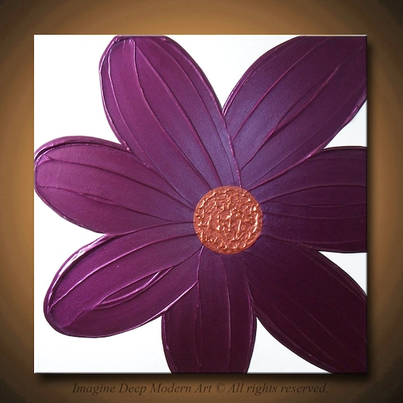 24x24 High Quality Original Impasto Flower Art - Vibrant Burgundy, Purple, Plum, Copper and White - Violet Bloom