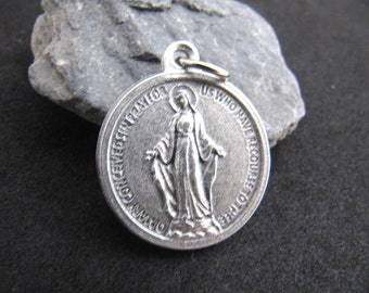 Silver Miraculous Medal Made in Italy with Prayer on Back