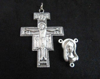 Italian Silver San Damiano Rosary Crucifix and Matching Mary/Jesus Centerpiece - 1 set