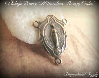 Vintage Bronze Miraculous Medal Rosary Centerpiece - 742