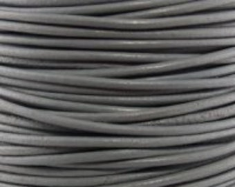 Leather Cord 1.5mm Round - 1 Yard - Shimmer Gray Color - Make Necklaces, Earrings and Bracelets