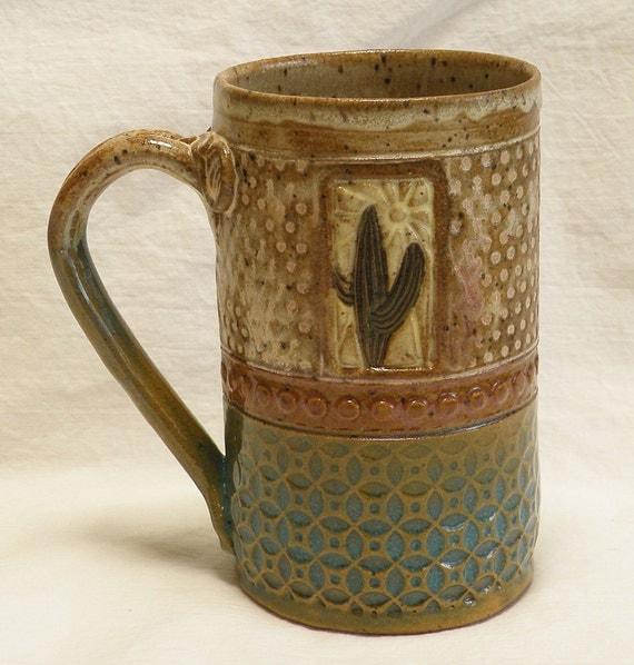 handmade ceramic cactus coffee mug 16oz stoneware 16B020