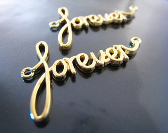 """Pendant Charm Finding - 2 pcs Gold """" Forever """" Word Shape with Two Loops 42mm x 25mm"""