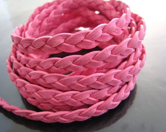 1 Yard of 7mm Pink Lace Strap Genuine Flat Braided Leather Cord