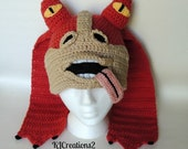Crochet inspired character hat-newborn to adult - jar jar binks - my design NO pattern.