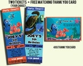 Printable Finding Nemo Ticket Style Invitations & Free Matching Thank You Card-DIY