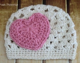 Crochet PATTERN - Crochet Hat Pattern - Sweet Heart Flapper Hat Applique Pattern - PDF 251 - Includes 3 Sizes Baby to Adult