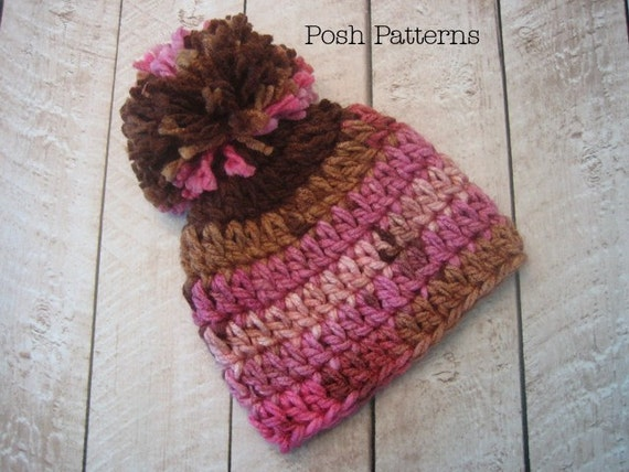 Crochet Baby Hat Pattern With Pom Pom : Crochet PATTERN Baby Pom Pom Beanie Crochet Hat by ...