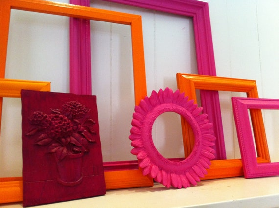 Reserved for Belmonte--Gallery Wall Frames Funky Vintage Frame Set Little Miss Muffet Upcycled Painted Pink and Orange