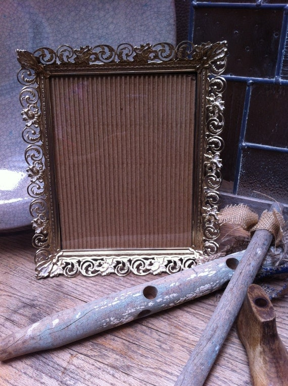 8 x 10 Gold Vintage Filigree Frame, Vintage Frames, Shabby Chic Decor, 50s and 60s Decor