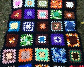 Vintage Afghan baby Blanket • vintage Afghan lap blanket