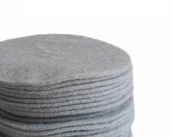 30 Die Cut Silver Gray Felt Circles in 3 inches
