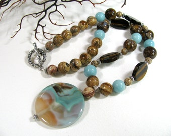 Labradorite with Tigereye and Picture Jasper-beaded necklace-gemstones 034