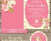 Bridal Shower, Tea Party, Chic Roses Baby or Bridal Shower Invitation - Digital File