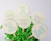 24 Sweet Baby and Boy Oh Boy Cupcake Toppers. Cake Decoration. Party Favor.