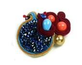 Bermuda brooch, Swarovski bermuda, gold, coral red. Handmade Embroidered Soutache brooch. Bead Embroidery. Soutache Jewelry, gift under 50