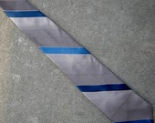 awesome 1960's Wembley striped tie in cool greys and blues