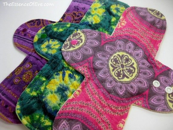 Cloth Menstrual Pads - Set of 3 Flannel 11 Inch Regular  - Heavy Flow