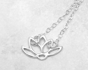 Sterling Silver Lotus Necklace, Lotus Charm Necklace, summer fashion, bridal jewelry, lotus blossom, flower necklace