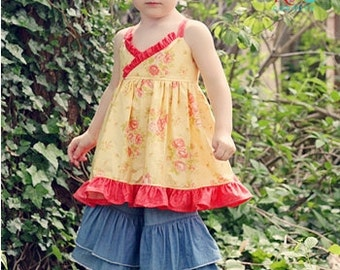Ivy's Criss Cross Ruffle Top, Sundress, and Maxi Dress PDF Pattern sizes 6-12 months to 8 girls
