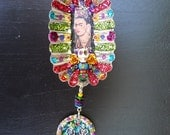 Frida Kahlo Mixed Media Alter Nicho Shrine Bottle Cap Assemblage
