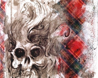 Painting plywood acrylic - skull tartan - studs and lace